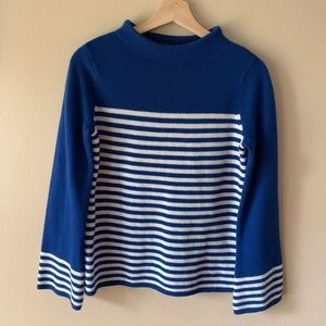 Boden Riviera Blue Stripe Wool Sweater small